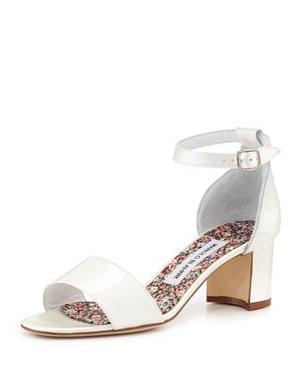Manolo Blahnik Lauratomod Pearlescent Patent Sandal, Off White