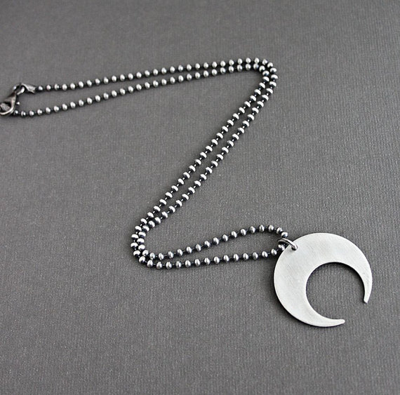 Crescent Moon Pendant Silver Chain Necklace