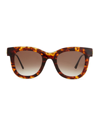 Thierry Lasry Sunglasses with Metal Arms, Brown Tortoise cat eye