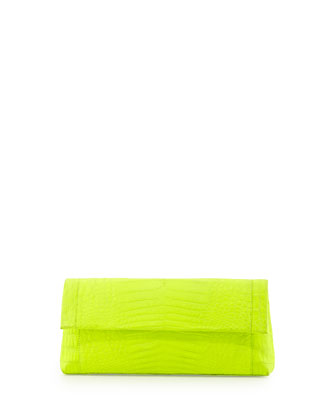 Nancy Gonzalez Crocodile Flap-Top Clutch Bag, Neon Yellow