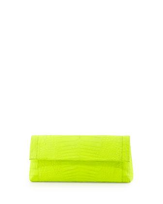 Nancy Gonzalez Crocodile Flap-Top Clutch Bag, Neon Yellow