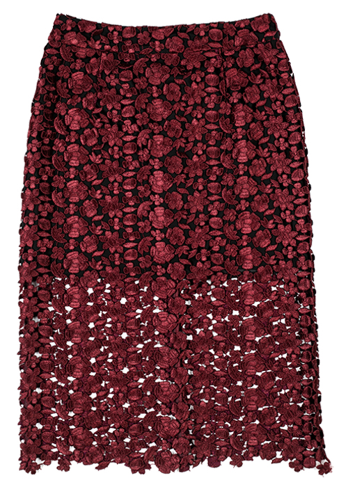 Lace Midi Skirt in Zest Red