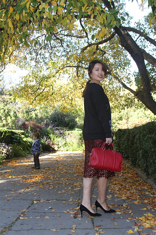 Moon-Star Embellished Cotton Sweatshirt with Lace Midi Skirt, Pointy Pumps, and Red Satchel, junelemongirl, street style,garden style, fashion blogger, fashion blog, nyc, street fashion, June Lemon Girl, conservatory garden, central park