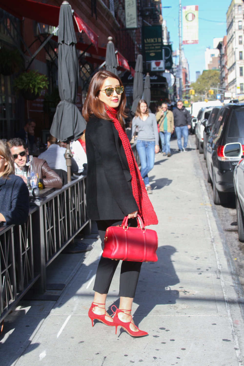 junelemongirl, june lemon girl, fashion blogger, street fashion, red scarf fashion, black coat fashion, red scarf street style, nyc street fashion, red lace up pumps, lace up pumps, red satchel, black cropped pants, red over black, aquazzura