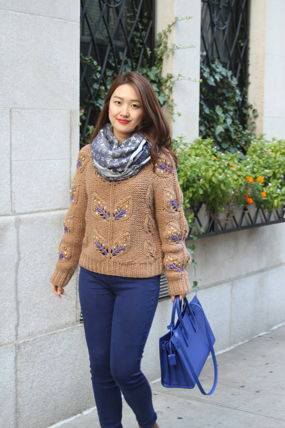 junelemongirl, june lemon girl, fashion blogger, new york fashion blogger, nyc street, street style, street fashion, autumn fashion, autumn 2016, winter 2016, cable sweater, embroidered sweater, coffee sweater, brown sweater, autumn palette, soft autumn, blueberry jeans, blue satchel, saint laurent, sac de jour, j brand jeans, jimmy choo, platform ankle boots, brown boots, lv monogram shawl, blue denim