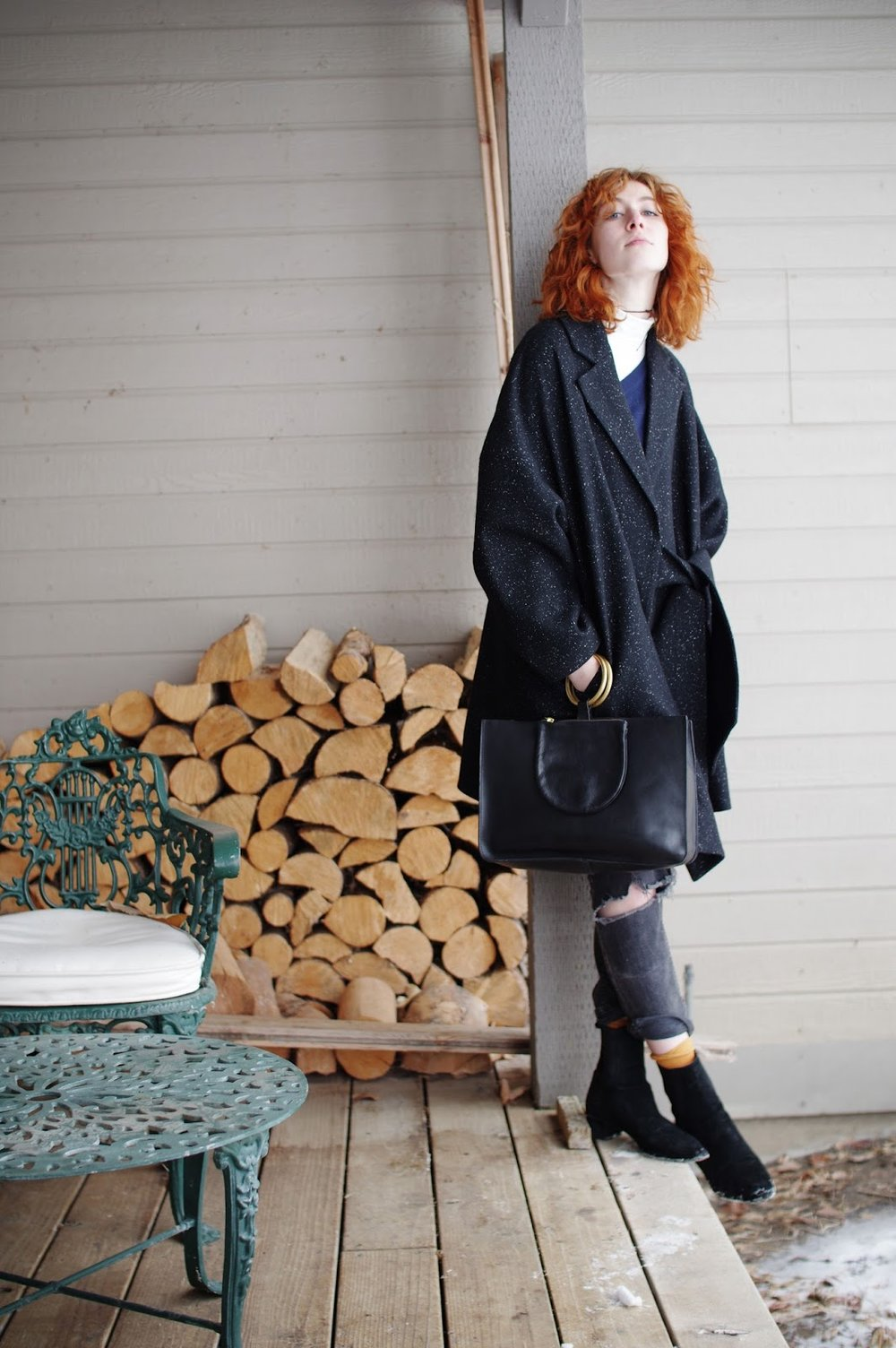 runway unicorn, runwayunicorn, delune, clairegeist, new york fashion, new york fashion magazine, boucle coat, wool coat, wrap coat, black coat, collaboration, deluneblog, junelemongirl, new york fashion blogger, street fashion, street style, distressed jeans, black suede boots, red hair