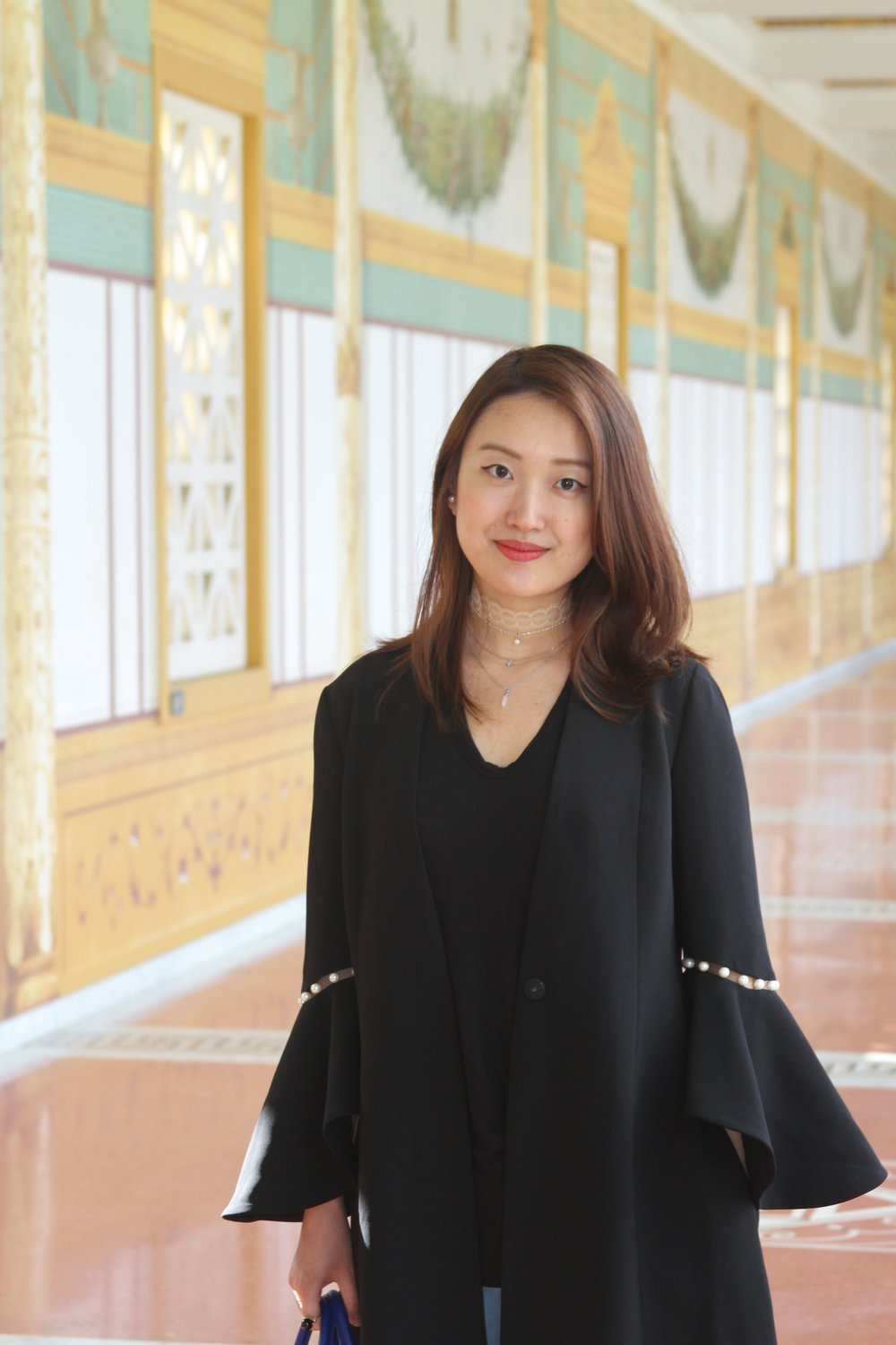 june lemon girl, junelemongirl, new york fashion, new york fashion blogger, bell sleeve, pearl sleeve, dress coat, black tee, spring street fashion, lace choker necklace, getty villa, getty museum, los angeles, spring fashion, ootd