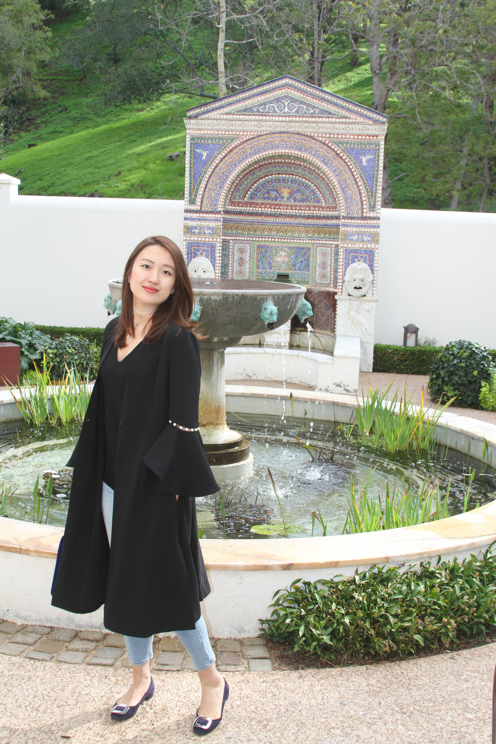 june lemon girl, junelemongirl, new york fashion, new york fashion blogger, bell sleeve, pearl sleeve, dress coat, black tee, spring street fashion, lace choker necklace, getty villa, getty museum, los angeles, spring fashion, ootd, fountain, fashion blogger