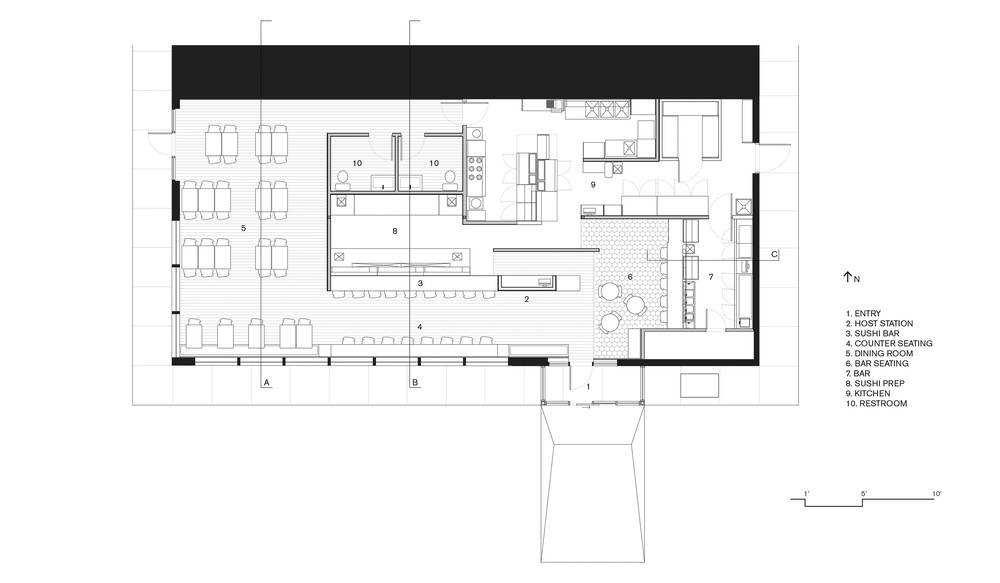 AKA Sushi Restaurant Floor Plan - by Synecdoche Design