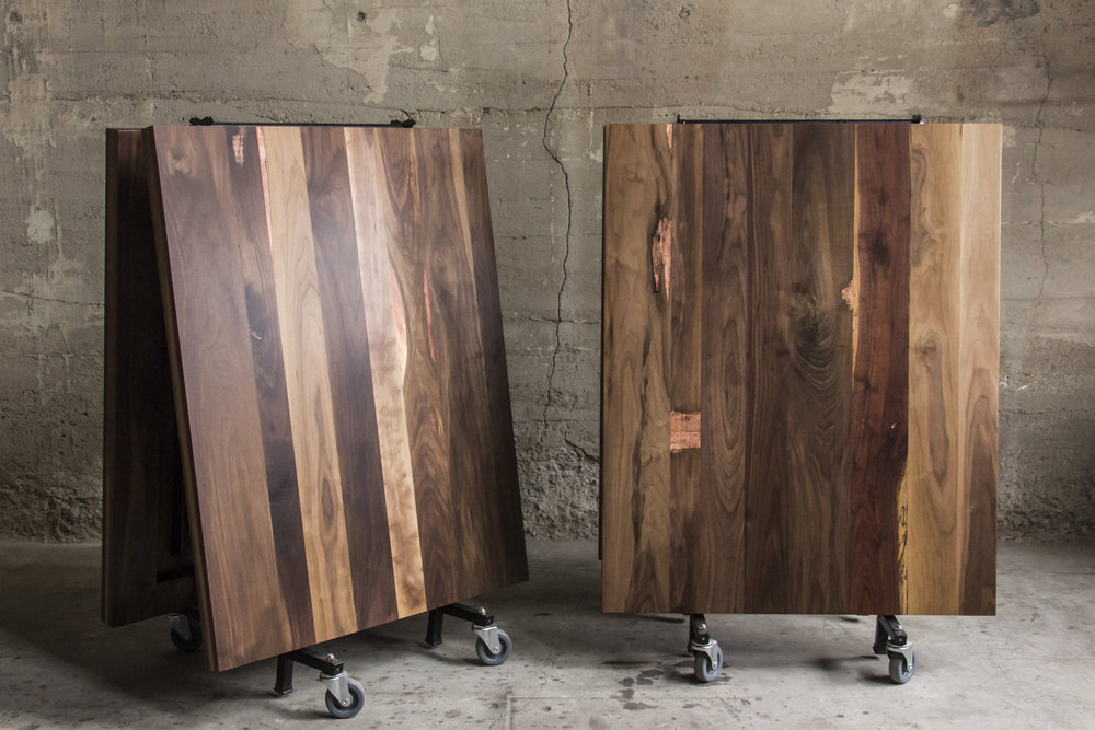 Walnut and copper fold up cafeteria tables by Synecdoche Design Studio for Rapt Studio