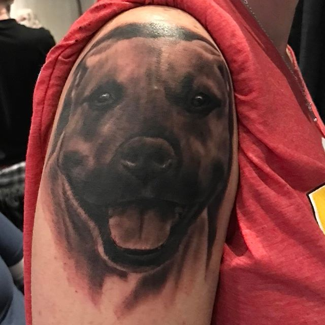 Done in Detroit at #motorcitytattooexpo #littlejohnstattoo #nctattooers #pitbull