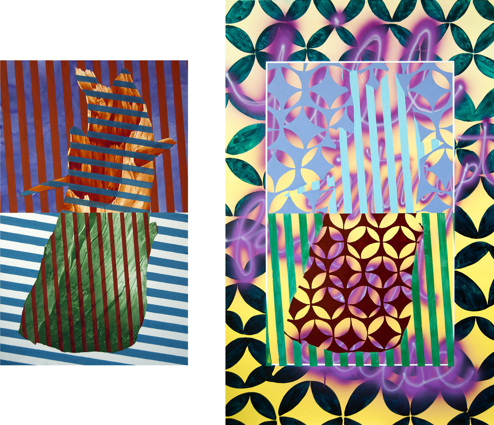 F.I.F.C. , 2012  Left:                            Watercolor on Paper  39h x 24w IN  Right:  Urethane on Aluminum Panel  55 x 34.5 IN