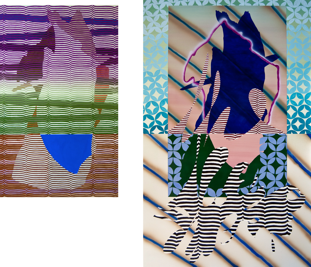 T.H.I.E. , 2012  Left:                            Watercolor on Paper  39h x 24w IN  Right:  Urethane on Aluminum Panel  55 x 34.5 IN