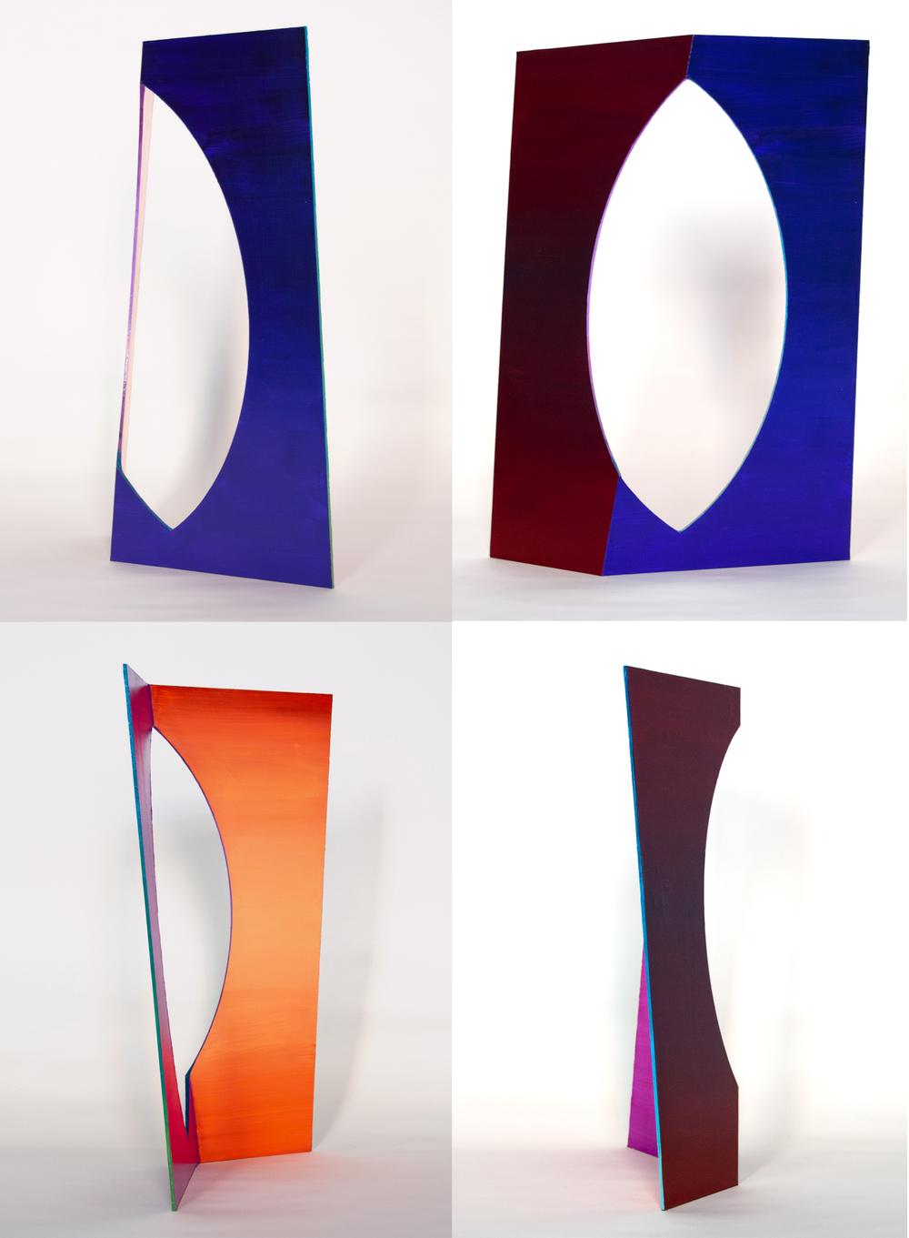 Fragment #1 , 2016  Acrylic on Freestanding Aluminum Panel  20 x 9 x 11 IN