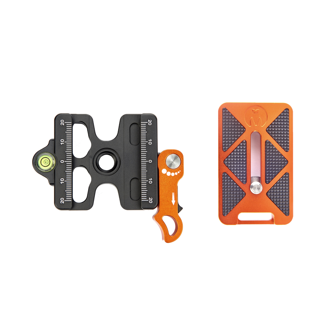 SWITCH CLAMP - The Switch Clamp is a lever-operated clamp, which can be adjusted to suit various plates. Configurable for left and right handed use, with security recesses and spirit level, it can be mounted on any 3/8
