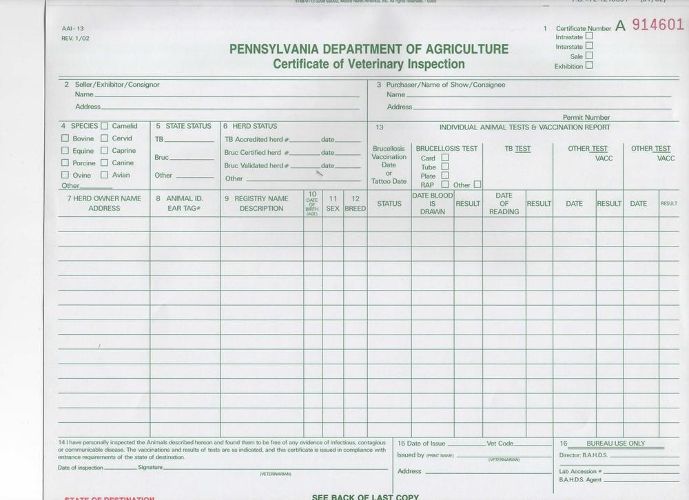 Health Certificate request Cumberland Valley Equine Service