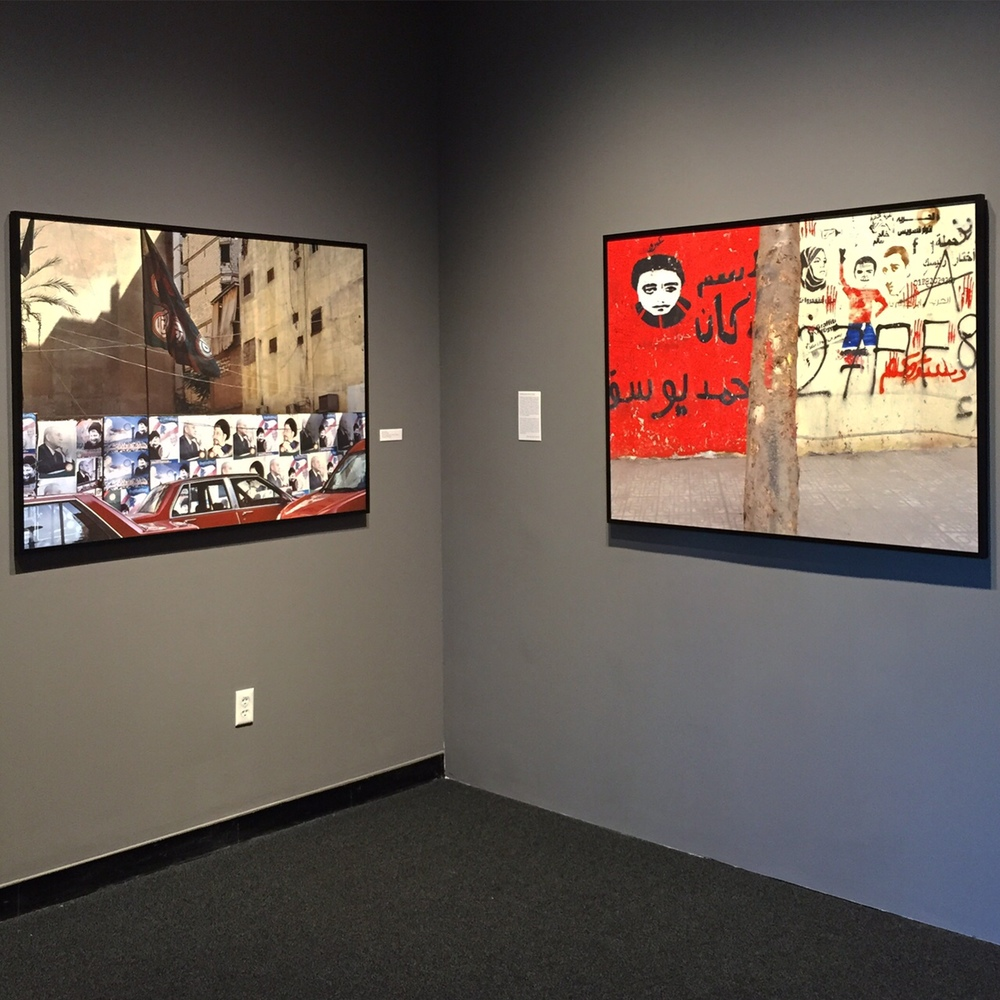Installation View from the exhibition at the Photographic Resource Center in Boston   Left : Red Cars, Lebanon (40in x50in)   Right : Two Sides to Every Story, Egypt (40in x 50in)