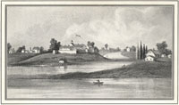 Drawing of Chicago River, 1831 Wau Bun Courtesy of Joni Marin