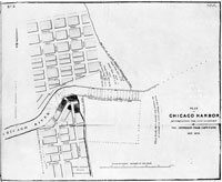 Map of Chicago, 1839 Engineering plans for straightening the harbor. Courtesy of Chicago Public Library