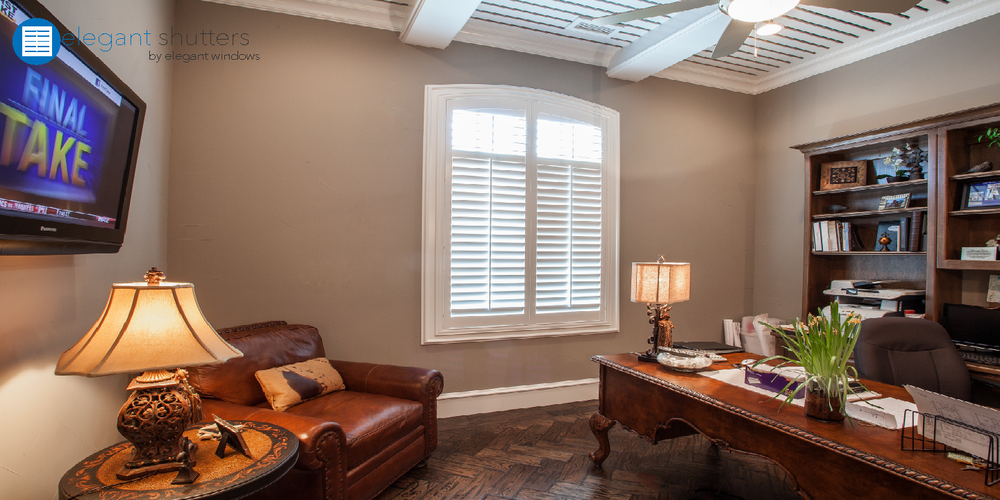 "Chelsea™ Arched at Top Shutters, Silk White, 3 1/2"" louver, 2 1/2"" Z Frame on existing casing, Standard Tilt, Divider Rail"