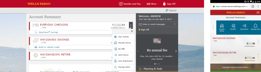 Example with the Hot Task menu functions open. These are frequently used services/pages linked to each account type.