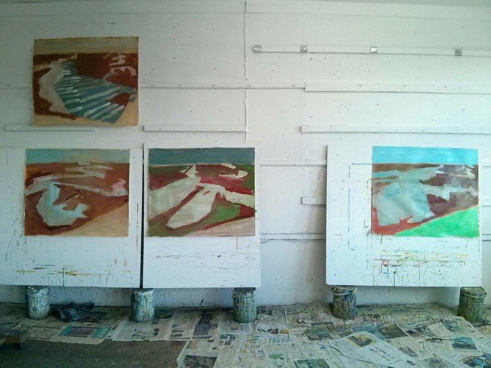 Some new paintings on paper underway. They are all based on drawings from Beaumont Cut, the centre of each containing the shape of water filled channels at high tide. This area is sandwiched between an upper zone that relates to the sky and, at the foot of the painting, a triangle that relates to the sloping bank of vegetated seawall.
