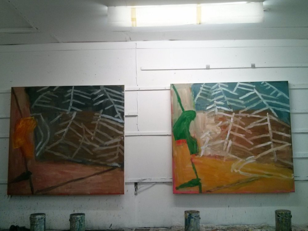 Not a great photo but this is how the same two paintings look at the moment. I don't remember the green on the right hand one being so striking; it might be the photo or it might need looking at again.