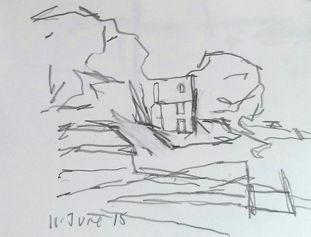 I walked to Landermere again this morning. I have been making drawings of the saltings for the paintings I am working on. Whilst at the quay I made this drawing which I rather like but seems outside what I normally do. But then it is good to disrupt your own expectations of your work and it is certainly good to disrupt other people's expectations. The work you make is talked about and written about and, if you are not careful, what you end up making is moulded by other people's understanding of it rather than by how you wish to progress it. It is good to take a few sideways steps…