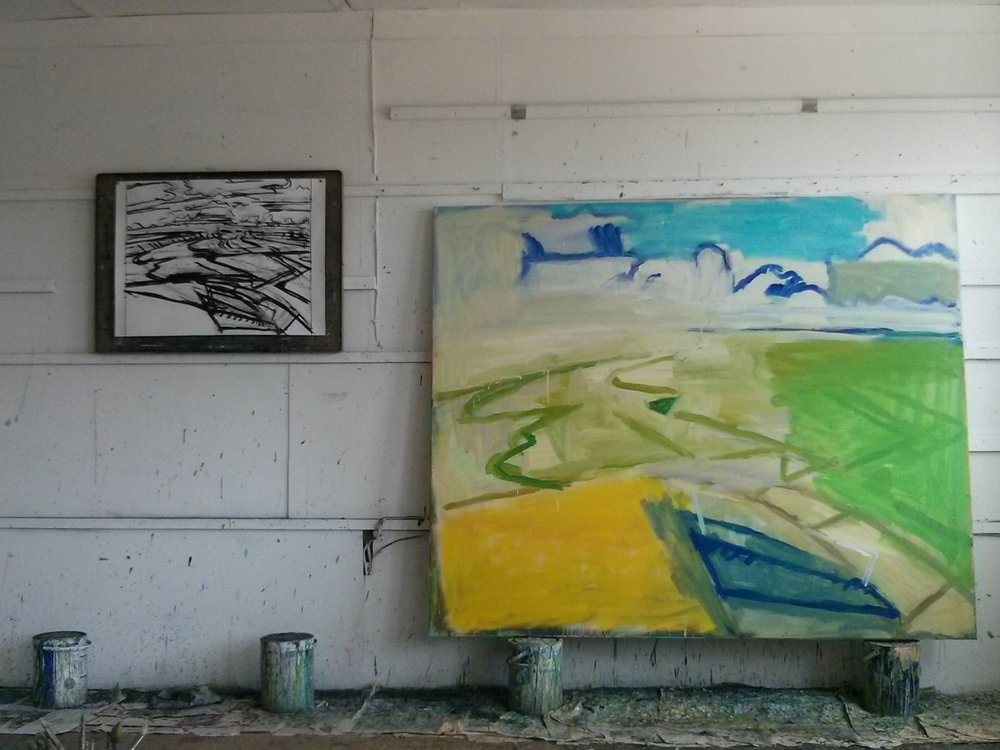Painting in progress in the studio today.