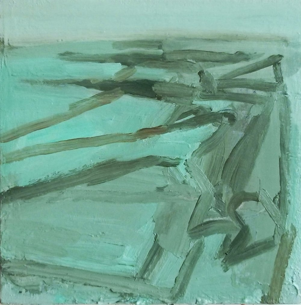 I have been working on several things this week, trying to find the next big painting. This one is one of several 30x30cm paintings that I have been working at over the winter; of the promenade and slipways at high tide.