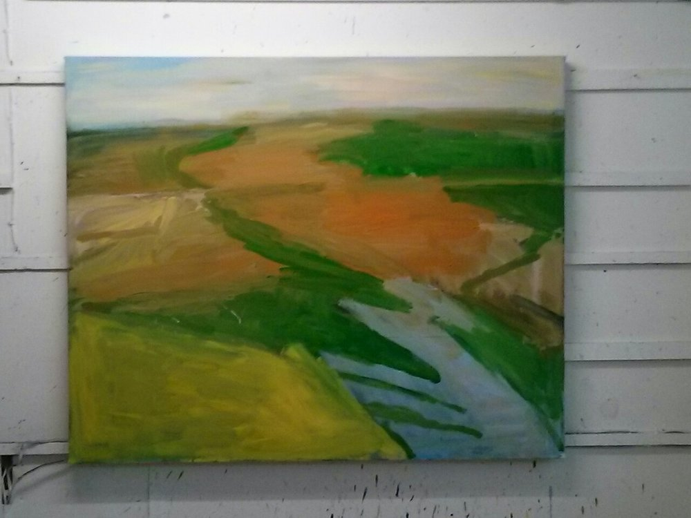 and at the end of today it's looking like this. My default colour with green is a dirty pink so I'm consciously avoiding that at the moment and have been trying out a burnt gold colour. This seems to have something to do with the reed beds and the damp winter weather.