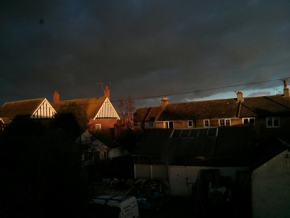 This was the dramatic end to the afternoon outside the studio window yesterday.