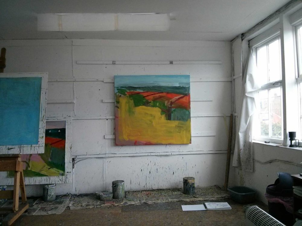 In the studio at the end of this week. The painting on the wall has already undergone big changes since taking the photograph.
