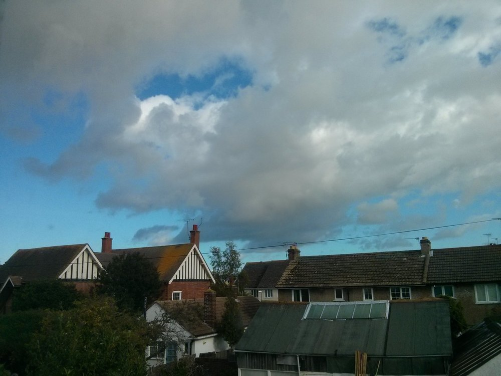 From the studio window this afternoon a sky like one in a Ruisdael painting. After having to put the heater on for the first time yesterday it has been much warmer today; I wasdrawingat the beach at lunchtime and there were several children in swimming.
