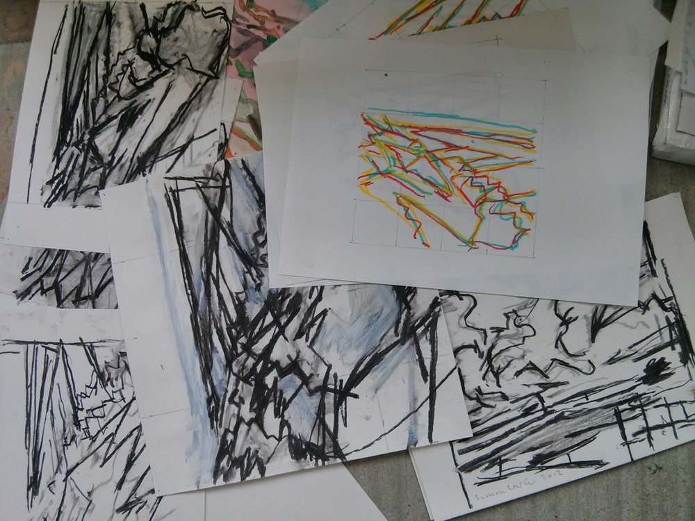 Some of the drawings that I have been making this week; trying to clarify things and see what the paintings are and are not doing. Drawing always helps sort things out and move things forward. How can you be an artist and not draw?