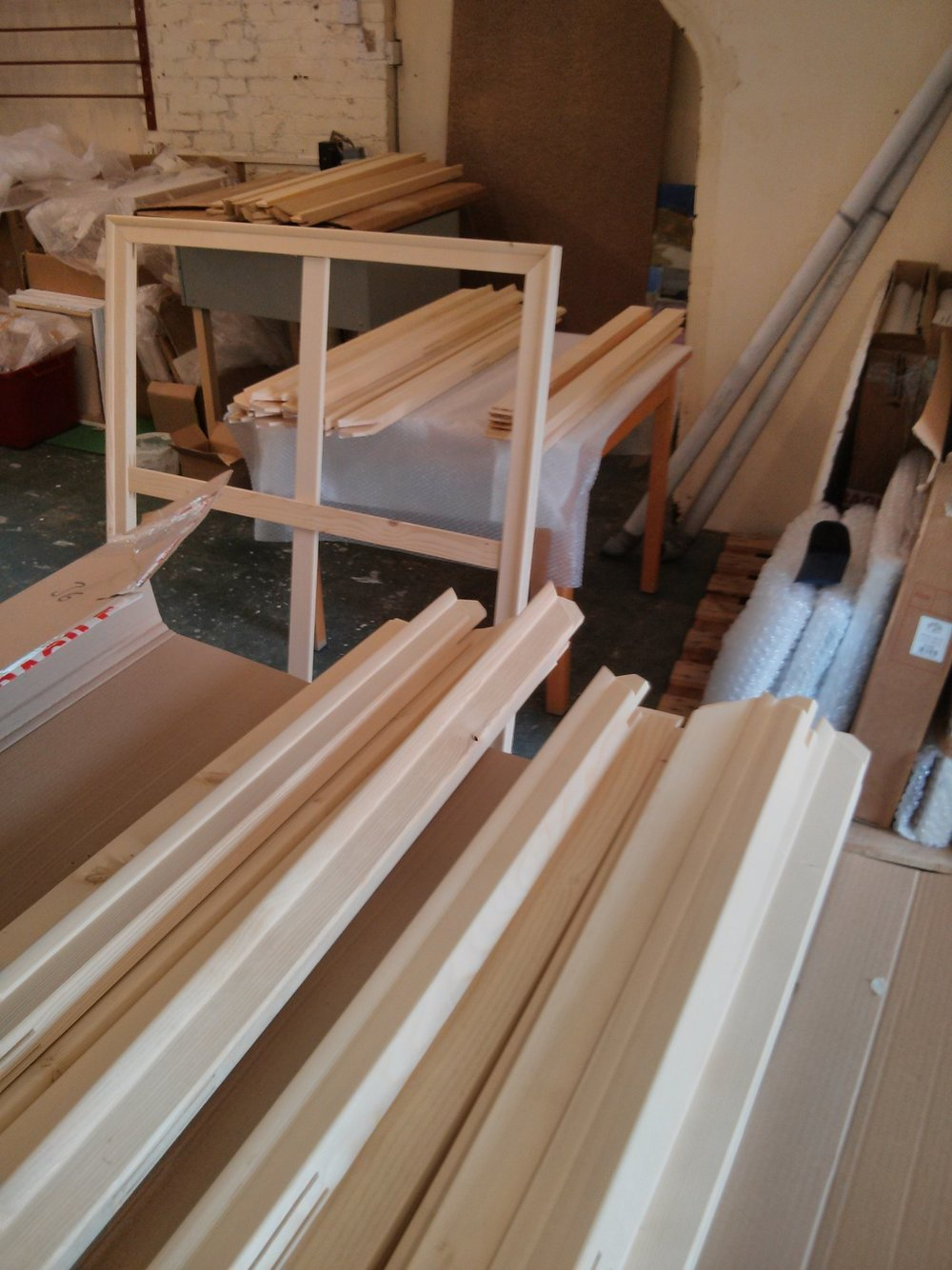 Delivery of stretchers arrived this afternoon. Should be enough to see me through the rest of the year or maybe longer at the slow rate I'm finishing work at the moment.