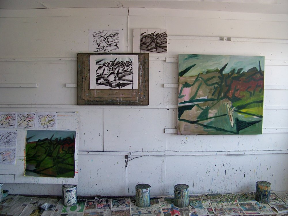 In the studio today. Drawings and paintings working towards resolving the current painting. I have a good feeling about it at the moment!