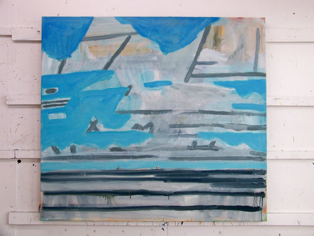This is how the canvas looked yesterday. I'm still deciding whether I like it or not. It might take a while. In the meantime I'm going back to a painting of the cliff and the beach to have another go at that and I will make more drawings.