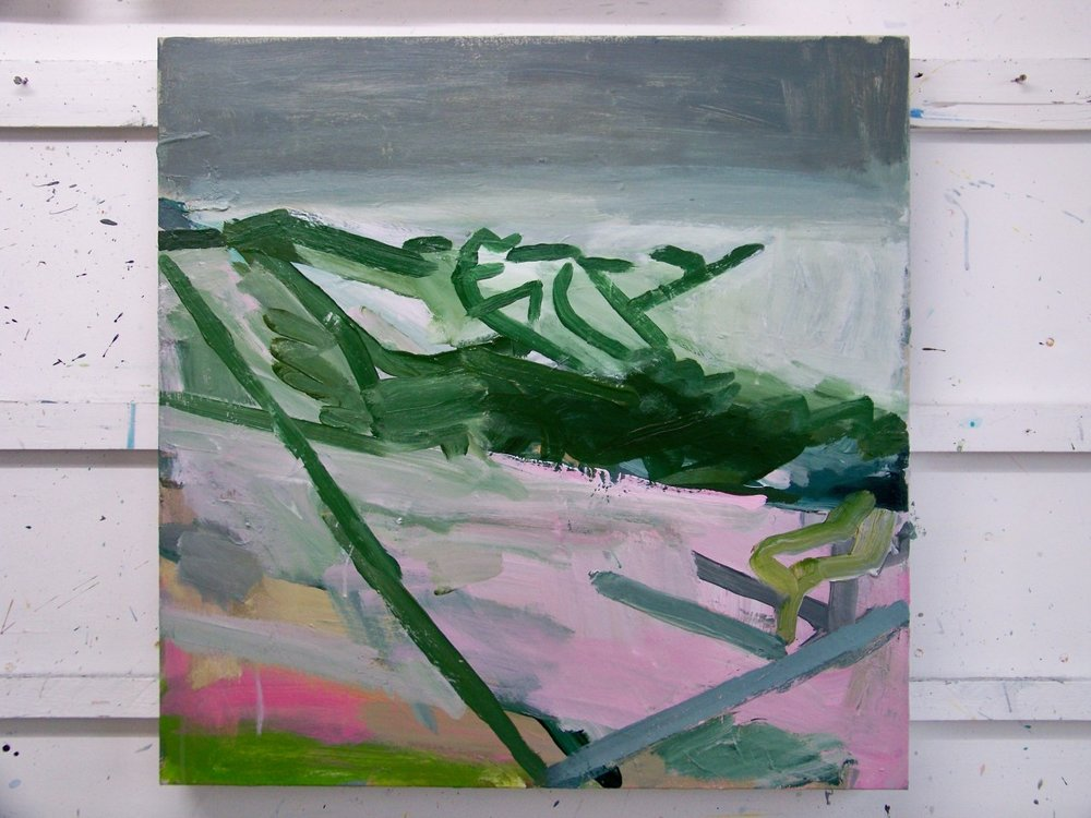 The latest state of the piece currently up on the painting wall. I've been investigating how to use dark greens, which can go very dead if they drag up a bit of white or pink from the underpainting. Hiding a little yellow in a dark mix seems to mitigate against this.