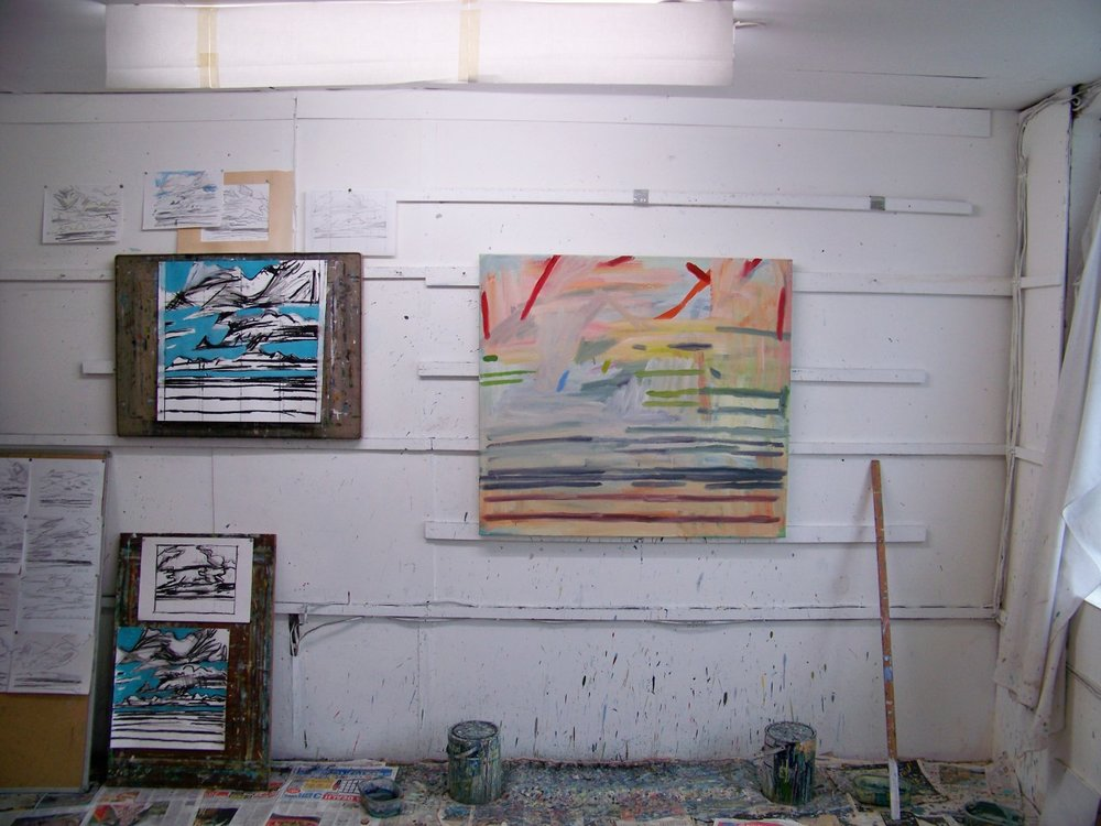 In the studio this afternoon. Started on this canvas using some of the recent drawings. All going well so far!
