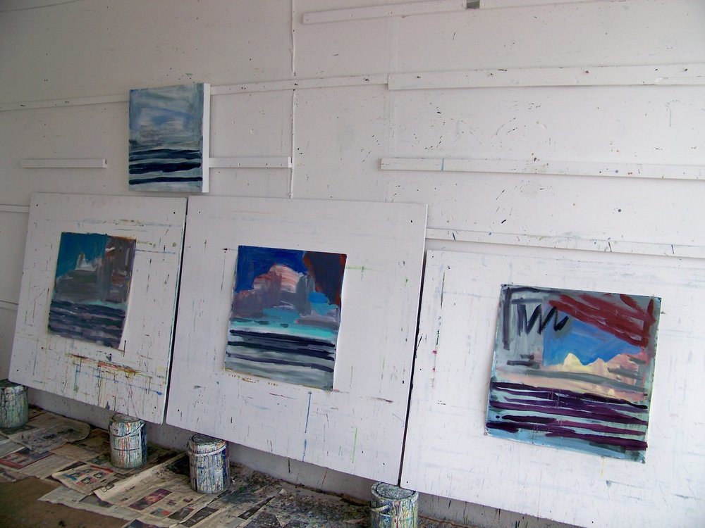 21 September 2012. After a week away it has taken me another week to find my way back into painting. I have been making watercolours of clouds and these pieces on paper from earlier drawings of clouds over the sea.