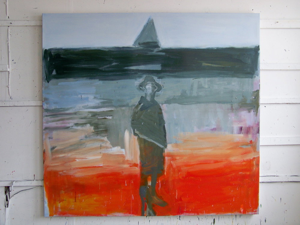 24th August 2012. I have been working on another large painting of a figure on the beach and am feeling much more at home with the larger size. I have been making some small pastel drawings and some watercolours trying to work out the 'drawing' in the painting but most of the week has been taken up with trying things out on the canvas and then covering them over.