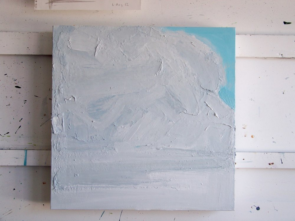 14th August 2012. I have been continuing to work on this painting all day. It seems to keep moving towards being all white and then it lacks definition so I put more grey into it and then it gradually moves back to white again. I think I'm looking for a moment of balance.