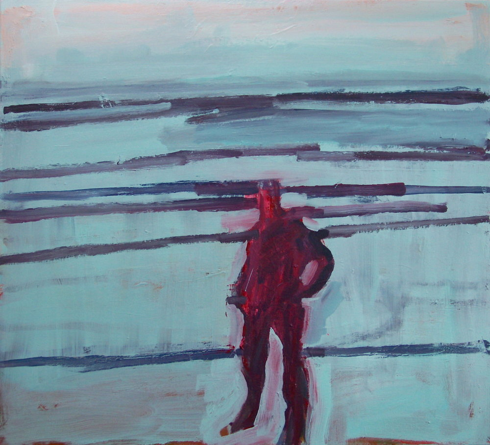 5th March 2012. I have been working on this painting over the winter along with other canvases of the same subject. I made the figure smaller last week and at last it seems to work.
