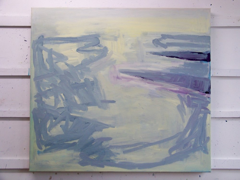 13th February 2012. The current painting at the end of today. I finally painted over any trace of red or green and have become interested in the grey calligraphy denoting the sea and the absence of marks denoting light on the sea. I have been making drawings of this this afternoon.