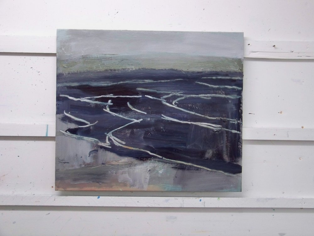 A new small painting based on last weeks drawings of a calm sea in the late afternoon.