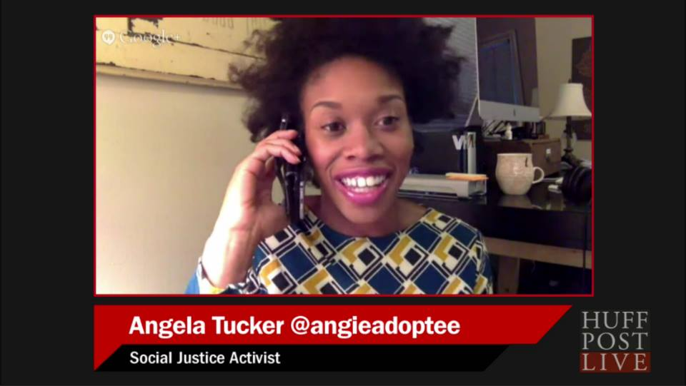 Angela on HuffPost Live, discussing transracial adoption