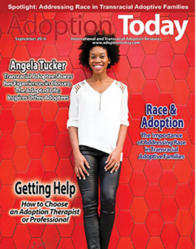 Angela as the cover story for September 2016 issue of Adoption Today Magazine