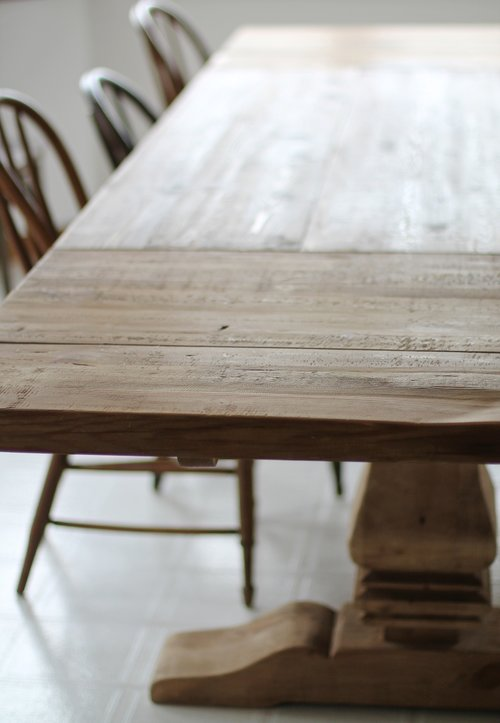 protect restoration hardware table jpg. RH SALVAGED WOOD TRESTLE RECTANGULAR EXTENSION DINING TABLE