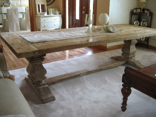 zocnys jpg. RH SALVAGED WOOD TRESTLE RECTANGULAR EXTENSION DINING TABLE